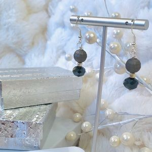 Frontrow.style Jewelry - Sterling Silver Earrings Matte Grey Crystal Edgy